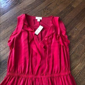 LOFT Dresses - Loft red silk tank ruffle dress NWT